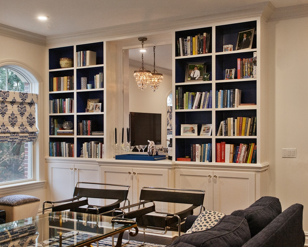 Living Room Floor To Ceiling Bookcase With Cabinets Mirror And Shaker Panel Doors